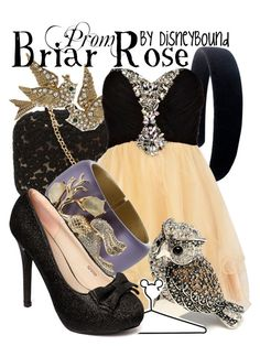 """""""Briar Rose Prom"""" by leslieakay ❤ liked on Polyvore featuring KOTUR, Betsey Johnson, River Island, Amrita Singh, Alexis Bittar, Disney, Friis & Company and prom"""