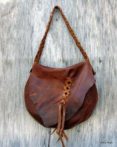 Distressed Cognac Brown Leather Haversack Bag by by stacyleigh