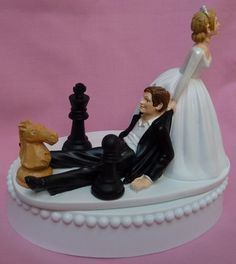 Chess Player Fan Game Themed Wedding Cake Topper, Garter, Display Box | WedSet - Wedding on ArtFire