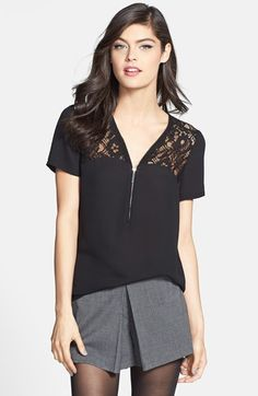 1.State Lace Yoke Short Sleeve Blouse (Nordstrom Exclusive) available at #Nordstrom