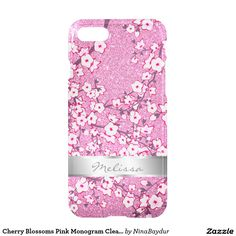 Cherry Blossoms Pink Monogram Clear Bling