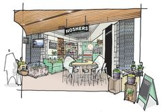 Noshers Deli - Concept sketch  I love the figures and rending style
