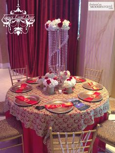 Red Table Reception Decor, Gold Chiavari Chairs Crystal - more inspiration @ http://www.ModernRani.com