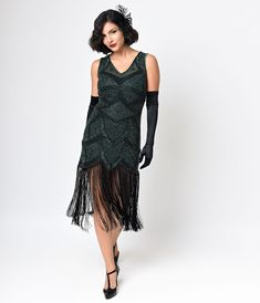 1920s flapper dress. Love the long fringe. Iconic by UV Green Beaded Mesh Isadora Fringe Flapper Dress $268.00 AT vintagedancer.com