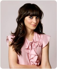 Wedding hair ideas, for any of the bridesmaids with bangs / Zooey Deschanel has GREAT hair, for the record