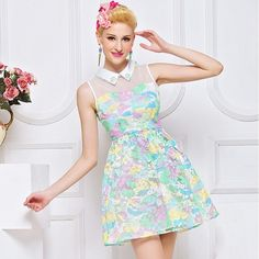 Sleeveless Embroidery Pastel Color Dresses Pink Purple