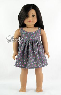 Grey w/Bright Floral Print Strappy Sundress for by Quirked on Etsy