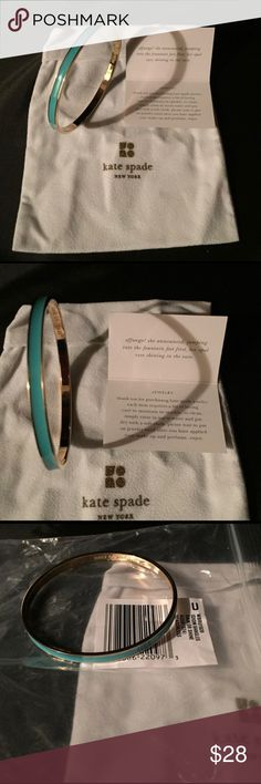 """Kate Spade Rain or Shine Idiom Bangle Classic gold and aqua enamel bangle celebrates some of our favorite turns of phrase, delicately printed inside. This is NWT and comes with the original storage bag shown in photos. 14 karat light gold plated hardware. 2.5"""" diameter; 0.25"""" width. kate spade Jewelry Bracelets"""