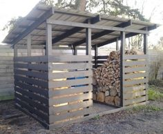 Grey Firewood Storage Shed. Getting a good set of firewood storage shed will really make your job easier. Firewood Shed, Firewood Storage, Diy Storage Shed Plans, Storage Ideas, Pallet Storage, Shed Construction, Build Your Own Shed, Casa Patio, Bike Shed