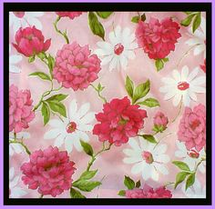 1960s Drapes Pink Peony Flower Curtains Mint Mid Century from toinetterl on Ruby Lane