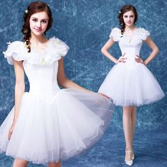Cute White Organza Butterfly Knee Length Wedding Bridal Tutu Dresses SKU-166055