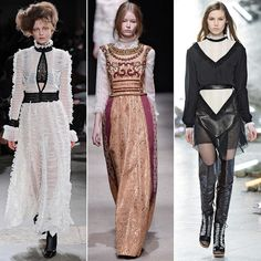 The Victorian era's lavish sensibilities returned this season. With turtlenecks taking over the runways, the ornately flocked high necklines of these looks added an air of aristocracy with a detailed focus on ruffles and lace. And as for those classic 19th-century poufy pagoda sleeves? They also found a home in many collections.