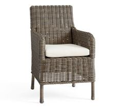 Huntington All-Weather Wicker Dining Roll-Arm Chair - Gray | Pottery Barn