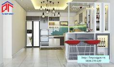 Tủ bếp acrylic đẹp với quầy bar