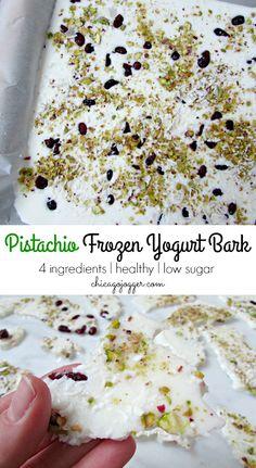 Pistachio Frozen Yogurt Bark - a healthy snack or dessert recipe using only 4 ingredients! | chicagojogger.com