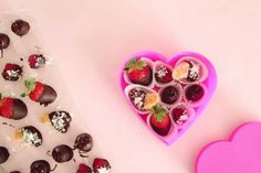 Healthy Valentines Day treat… Fruit dipped in dark chocolate, then sprinkles w/ coconut. Present in a heart-shaped box. Cute idea! Plus, so much healthier.