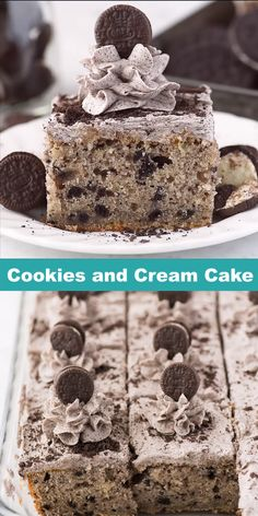 Cookies and cream sheet cake made in a inch pan. This is an easy oreo cookie cake with directions on how to make cookies and cream cake filling and frosting! Cake Cookies and Cream Cake Oreo Cake Recipes, Oreo Desserts, Sheet Cake Recipes, Frosting Recipes, Baking Recipes, Delicious Desserts, Sheet Cakes, Cookies And Cream Frosting, Pudding