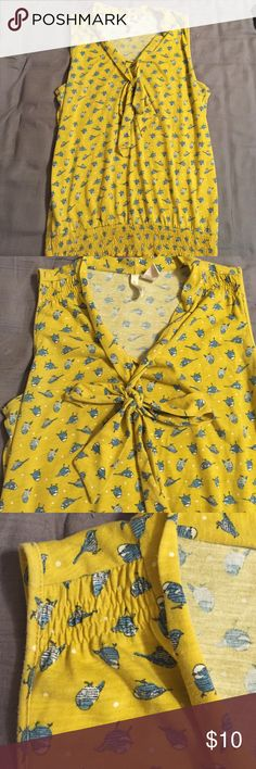💥SUMMER SALE💥Mustard Yellow and Blue bird blouse Mustard yellow and blue bird blouse. Has tie in front, cinched waist and shoulders. Red Camel Tops Blouses