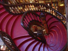 Staircase in the Lello bookstore in Porto, Portugal