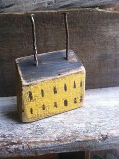 Saltbox House Straw Yellow Primitive Rustic Folk Art By A. Gambrel Ooak in Antiques | eBay