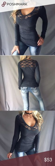 💕Charcoal Gray Long Sleeve V-Neck 💕Sexy V-Neck Lace Back Fitted Long Sleeve Top💕Color: Charcoal Gray💕Available in Small, Medium + Large (limited amount, so don't wait!)💕 Ruched sides, feminine Lace detailing💕Super cute + soft stretch fabric💕💕Model is wearing Size Small💕I consider KIND offers but on brand new boutique items, bundle for 15% off 2 or ask for a custom bundle when buying 3+ Tops Tees - Long Sleeve