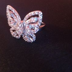 Celebrity Inspired CZ Butterfly Ring Sterling silver butterfly ring. 1.0 inches, weighs 3.5 grams. Replica of the famous Mariah Carey butterfly ring! Eves Addiction  Accessories