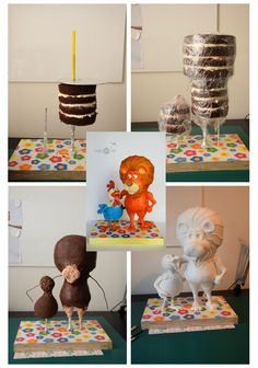 Work in progress- how I've made Lion & Rooster cake - Cake Decorating Cupcake Ideen Anti Gravity Cake, Gravity Defying Cake, Fondant Flower Cake, Fondant Cakes, Fondant Bow, Fondant Figures, Cake Decorating Techniques, Cake Decorating Tutorials, Cake Frame