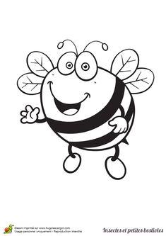 Coloriage d'une abeille un peu dodue