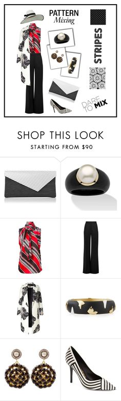 """""""Pattern Mixing"""" by mayrae-sanchez ❤ liked on Polyvore featuring L.K.Bennett, Palm Beach Jewelry, Dsquared2, Roksanda, Alexis Bittar, Kastur Jewels, Salvatore Ferragamo and patternmixing"""
