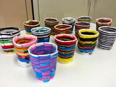 Art with Ms. Gram: weaving. I have been doing this project off and on for 20 years, but never thought paper cups would work. Now I am going to try it!