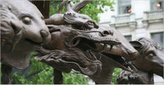 Ai Weiwei's new sculpture in NYC: CIRCLE OF ANIMALS/ZODIAC HEADS at the Pulitzer fountain outside the Plaza Hotel