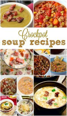 LOTS of easy Slow Cooker soup recipes to make each month for the whole Year! Hearty and easy to make crockpot recipes for your family. Slow Cooker Huhn, Crock Pot Slow Cooker, Slow Cooker Recipes, Crockpot Recipes, Soup Recipes, Cooking Recipes, Healthy Recipes, Healthy Soup, Easy Recipes