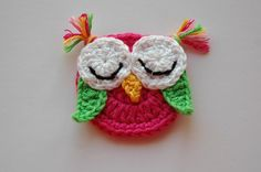 Crochet Owl Applique Pink and Green Sleepy Owl by AnnieDesign, $4.20