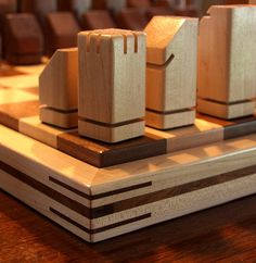 Unique Handmade Wooden Chess Set by elvira Diy Chess Set, Modern Chess Set, Chess Set Unique, Harry Potter Chess Set, Luxury Chess Sets, Wood Chess Board, Chess Table, Wood Games, Chess Pieces