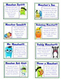 I use Class Dojo and created these monster themed coupons for behavior reward incentives. If you think of coupons you would like me to add, I am happy to do so. Behavior Incentives, Classroom Rewards, Classroom Behavior Management, Behaviour Management, Classroom Themes, Classroom Organization, Class Management, 3rd Grade Classroom, School Classroom