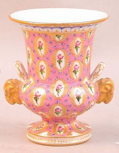 SEVRES PORCELAIN CACHEPOT Pink with rams