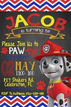 Marshall, Paw Patrol Invitation for a Paw Patrol Party!!