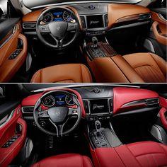 Maserati Levante 2017: couro marrom com madeira ou vermelho com preto? Primeiro SUV em mais de 100 anos de história da marca o Levante completa o line-up da Maserati que oferece ainda os modelos Quattroporte Ghibli GranTurismo e GranCabrio. SUV de luxo italiano está disponível com motores a gasolina 3.0 V6 biturbo com 350 e 430 cv. O top de linha faz de 0 a 100 km/h em 5.2s com máxima de 264 km/h. O de 350 cv tem números de 69s e 251 km/h respectivamente. Há também um 3.0 diesel de 275 cv…