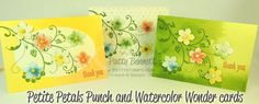 Watercolor Wonder Note Cards and Petite Petals flower punch new from the Occasions catalog from Stampin Up! by Patty Bennett, www.PattyStamps.com