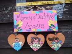 Personalized hanging kids plaque by LazyHoundWorkshop on Etsy, $15.00