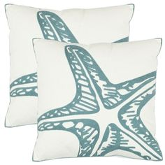 Starfish 18-inch White Decorative Pillows (Set of 2) | Overstock.com Shopping - Great Deals on Safavieh Throw Pillows