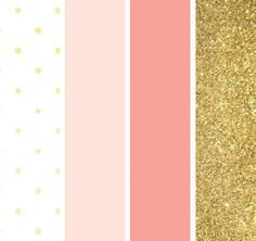 This pink and gold color palette on Showerbelle is perfect for a spring shower or baby girl room Imprimibles Baby Shower, Pink Und Gold, Pink White, White Gold, Bedroom Minimalist, Gold Color Palettes, Gold Palette, Gold Shower, Spring Shower