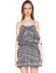 Pixie Market Weekend Ruffle Dress - black and white pattern dress - $69