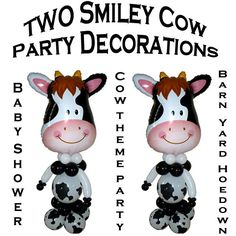 TWO Smiley Cow character party decorations by CelebratetheDayparty on Etsy