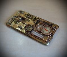 Steampunk case iPhone 6 PLUS V2 and watch & analog thermometer by MagenKening