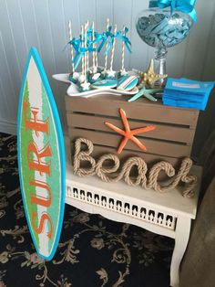Decorations at a surfer baby shower party! See more party planning ideas at CatchMyParty.com!