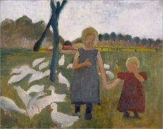 Paula Modersohn-Becker - Kinder mit Gänsen am Ziehbrunnen.