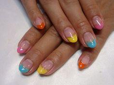 Разноцветный френч с золотистой каемкой ::: onelady.ru ::: #nail #nails #nailart #manicure