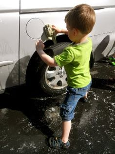 Car Wash! I had no idea how much learning goes on when toddlers wash cars!