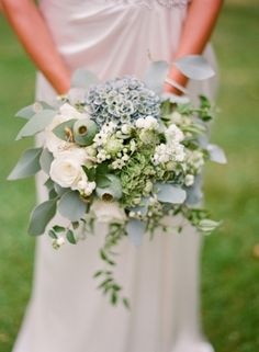 a wedding #bouquet in pale #blue and #green Photography by edwardosbornphotography.com, Florals by http://iheart-flowers.blogspot.com,   Read more - http://www.stylemepretty.com/2013/09/30/scottish-castle-wedding-from-edward-osborn/